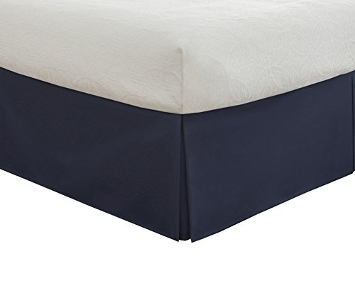"""0010482035704 - LUX HOTEL BEDDING TAILORED BED SKIRT, CLASSIC 14"""" DROP LENGTH, PLEATED STYLING, CALI KING, NAVY"""