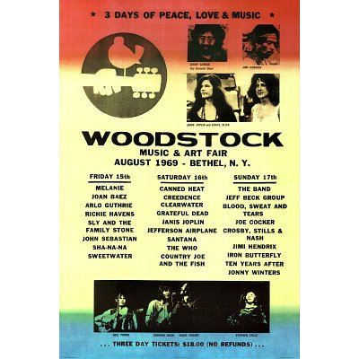 0011545331344 - WOODSTOCK LINE-UP MUSIC POSTER PRINT - 24X36