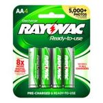 0012800512515 - RAYOVAC EVERYDAY-USE LOW SELF DISCHARGE NIMH AA SIZE BATTERIES, 4 PACK