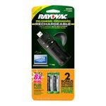 0012800513277 - RAYOVAC EVERYDAY-USE 2 POSITION USB CHARGER WITH 2 AA OPP LOW SELF DISCHARGE NIMH BATTERIES