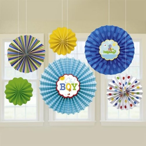 0013051365707 - BABY SHOWER 'AHOY BABY' PAPER FAN DECORATIONS (6PC)