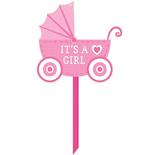 0013051565442 - AMSCAN SWEET CELEBRATE BABY GIRL YARD SIGN (1 PIECE), 14 X 15, PINK/WHITE