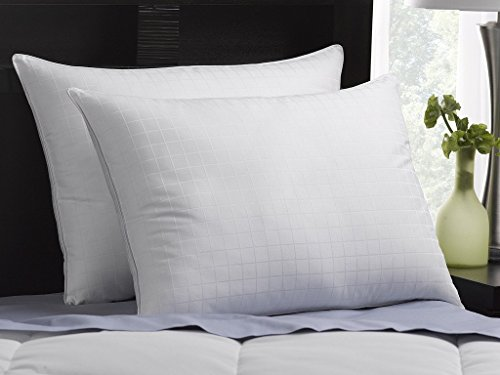 0013964294880 - LUXURY PLUSH DOWN-ALTERNATIVE HOTEL LUXE PILLOWS 2-PACK, STANDARD SIZE, GEL-FIBER FILLED PILLOWS - HYPOALLERGENIC, 100% COTTON SHELL WITH WINDOWPANE PATTERN - SOFT DENSITY, IDEAL FOR STOMACH SLEEPERS