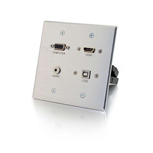 0014445600404 - C2G / CABLES TO GO 39703 HDMI, VGA, 3.5MM AND USB PASS THROUGH DOUBLE GANG WALL PLATE, ALUMINUM