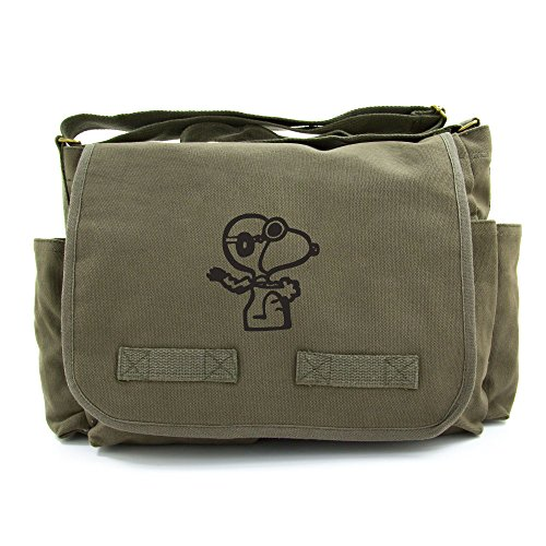 0014567425978 - SNOOPY FLYING ACE HEAVYWEIGHT CANVAS MESSENGER/DIAPER SHOULDER BAG IN OLIVE & BLACK