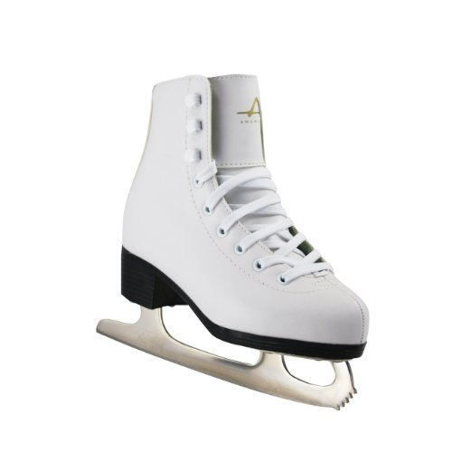 0014869512017 - AMERICAN ATHLETIC SHOE GIRL'S TRICOT LINED ICE SKATES, WHITE, 1