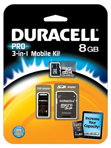 0151903575871 - DURACELL DU-3IN1C1008G-R 8GB MICROSD C10 WITH 2 ADAPTERS