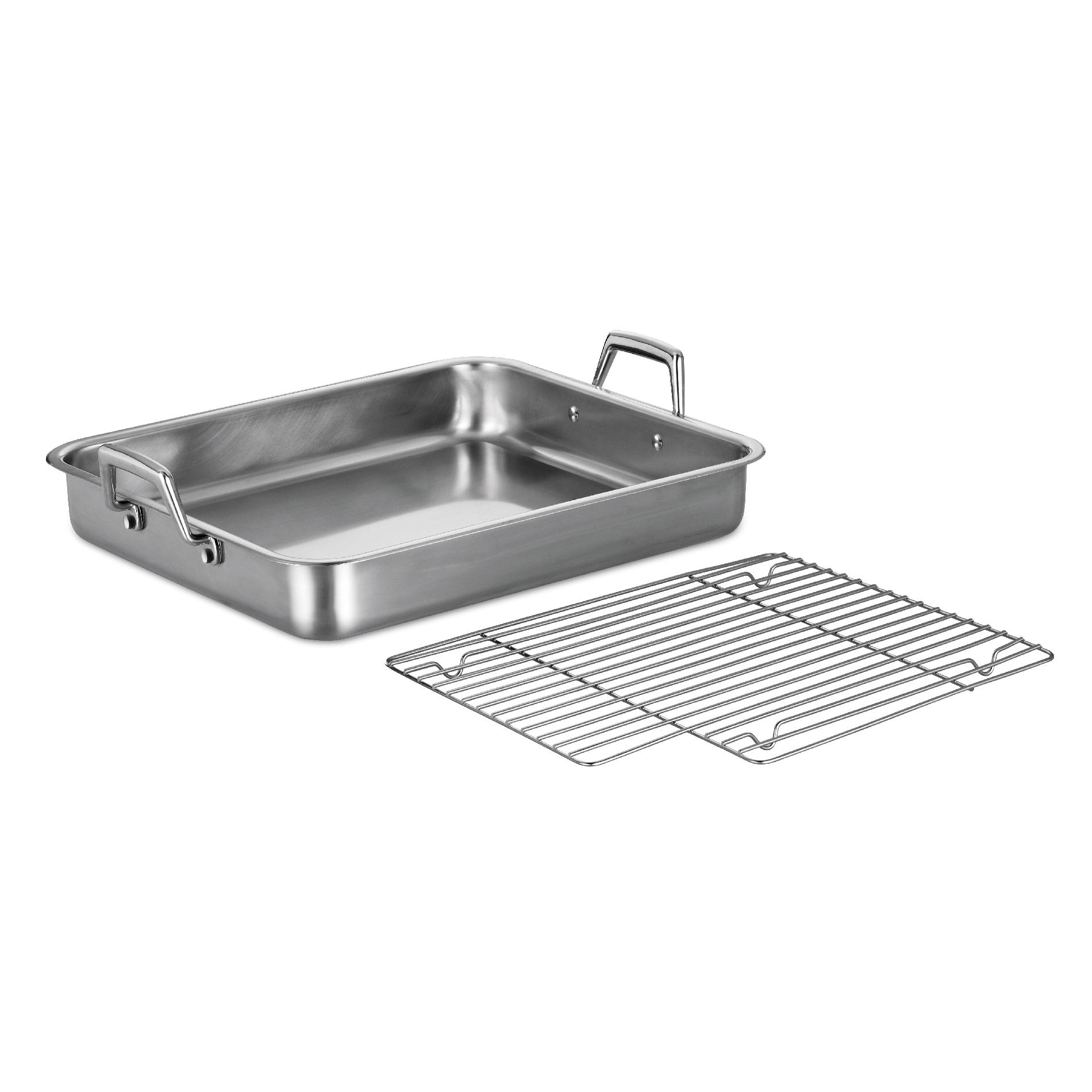 0016017076143 - GOURMET PRIMA 18/10 STAINLESS STEEL 16.5 IN ROASTING PAN - INCLUDES BASTING GRILL