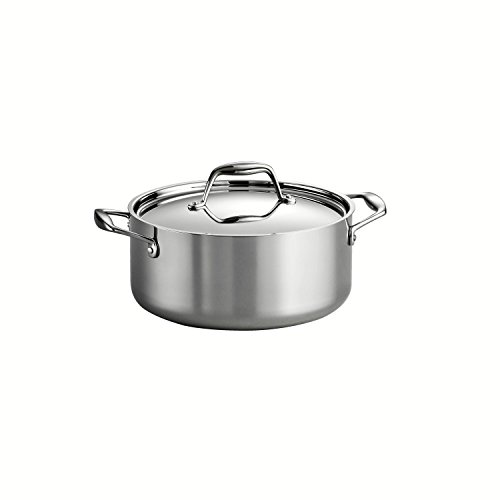 0016017101159 - TRAMONTINA 80116/025DS GOURMET 18/10 STAINLESS STEEL INDUCTION-READY TRI-PLY CLAD COVERED DUTCH OVEN, 5-QUART, STAINLESS