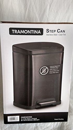 0016017127838 - TRAMONTINA STEP CAN 2.5L-5L STAINLESS STEEL (VARIOUS COLORS) (BLACK)