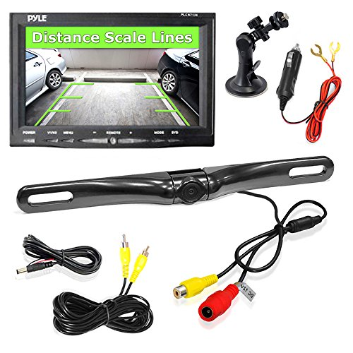0163120834334 - PYLE PLCM7500 CAR VEHICLE BACKUP CAMERA & MONITOR PARKING ASSISTANCE SYSTEM, WATERPROOF, NIGHT VISION, 7'' DISPLAY, DISTANCE SCALE LINES, SWIVEL ADJUSTABLE CAMERA