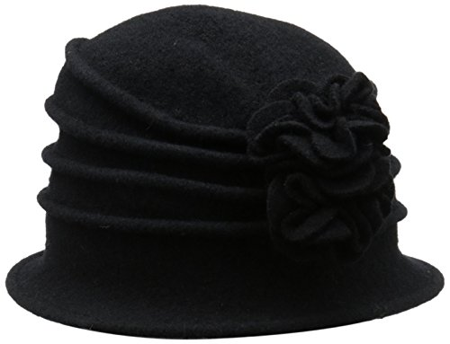 0016698101127 - SCALA WOMEN'S BOILED WOOL CLOCHE HAT WITH FLOWER, BLACK, ONE SIZE