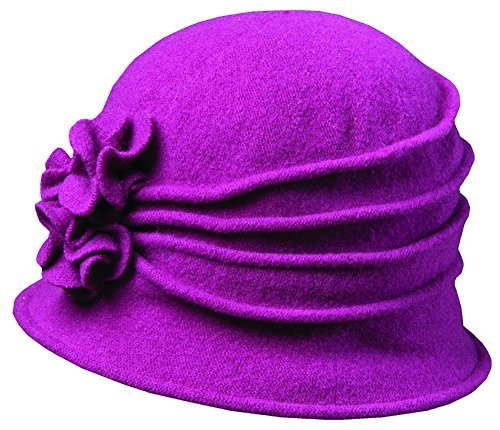 0016698101172 - SCALA WOMEN'S KNIT WOOL CLOCHE HAT WITH DOUBLE FLOWER, BERRY, ONE SIZE