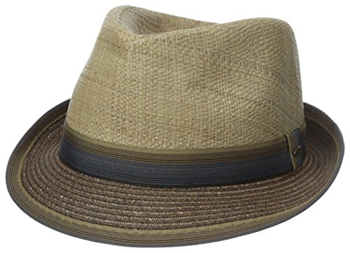 0016698207997 - SCALA MEN'S MATTE RAFFIA AND BRAID FEDORA, BROWN, LARGE