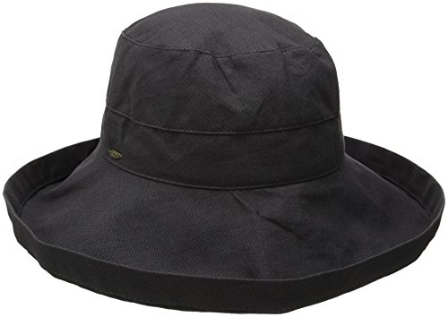 0016698224772 - SCALA WOMEN'S COTTON BIG BRIM ULTRAVIOLET PROTECTION HAT WITH INNER DRAWSTRING, CHARCOAL, ONE SIZE