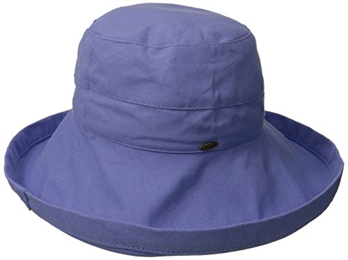 0016698286831 - SCALA WOMEN'S COTTON BIG BRIM ULTRAVIOLET PROTECTION HAT WITH INNER DRAWSTRING, PERIWINKLE, ONE SIZE
