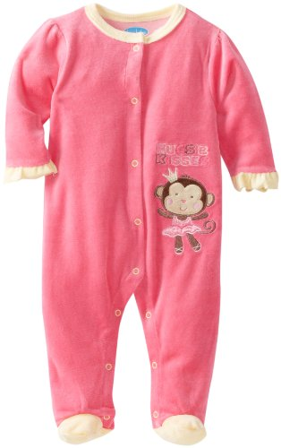 0017036324994 - BON BEBE BABY-GIRLS NEWBORN HUGS AND KISSES FOOTED VELOUR COVERALL, PINK/YELLOW, 3-6 MONTHS