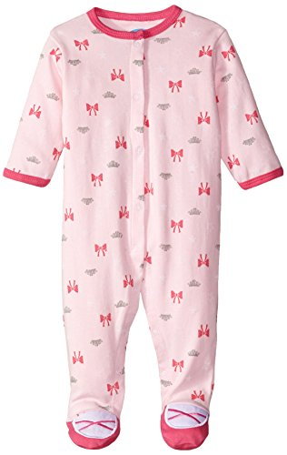 0017036737817 - BON BEBE BABY-GIRLS NEWBORN TIARA AND BOWS SNAP FRONT FOOTED COVERALL, MULTI, 3-6 MONTHS