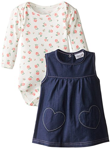 0017036940934 - RENE ROFE BABY BABY-GIRLS NEWBORN HEARTS AND ROSETTES CHAMBRAY JUMPER, MULTI, 6-9 MONTHS