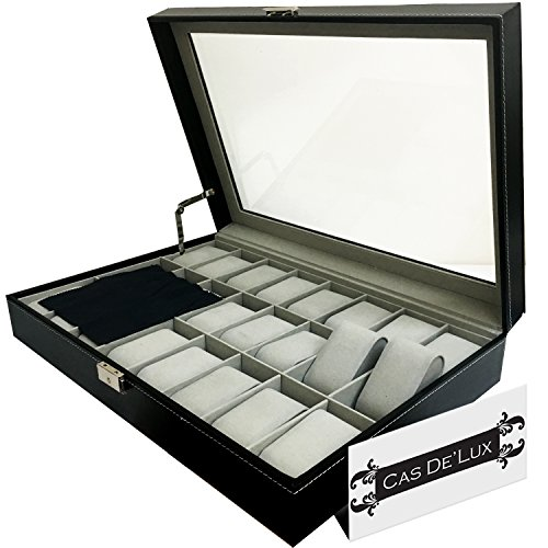0018227300278 - LUXURY WATCH BOX 24 VELVET PILLOW SLOTS, PREMIUM DISPLAY CASE WITH FRAMED GLASS LID, ELEGANT CONTRAST STITCHING, STURDY & SECURE LOCK - BY CAS DE` LUX