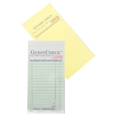 0018291810406 - NATIONAL CHECKING 104-50SW 3-1/2 INCH WIDTH 6-3/4 INCH HEIGHT 2 PART 16 LINE RESTAURANT GUEST CHECK GREEN PAD 50-PACK (CASE OF 50)
