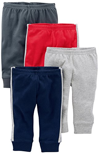 0190795487787 - SIMPLE JOYS BY CARTER'S BABY BOYS 4-PACK PANT, GREY/BLUE/RED SIDE STRIPE, 0-3 MONTHS