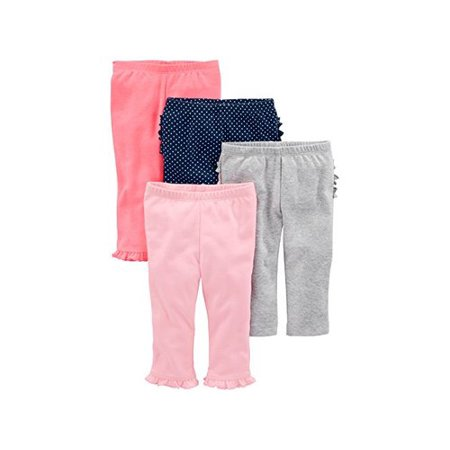 0190795487886 - SIMPLE JOYS BY CARTER'S BABY GIRLS 4-PACK PANT, PINK/GREY/NAVY RUFFLE, 18 MONTHS