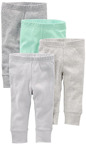 0190795488814 - SIMPLE JOYS BY CARTER'S BABY 4-PACK PANT, GREY/MINT, 3-6 MONTHS