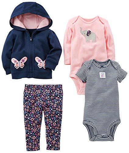 0190795518566 - SIMPLE JOYS BY CARTER'S BABY GIRLS 4-PIECE LITTLE JACKET SET, NAVY/PINK FLORAL, NEWBORN