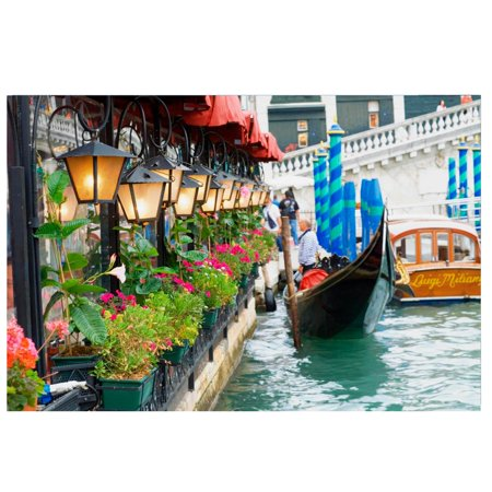 """0191296106085 - LED LIGHTED FLORAL SHOP WITH GONDOLA RIDE CANVAS WALL ART 11.75"""" X 15.75"""""""