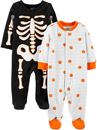 0194133729218 - SIMPLE JOYS BY CARTER'S BABY 2-PACK HALLOWEEN SNAP FLEECE FOOTED SLEEP AND PLAY, SKELETON/PUMPKINS, 0-3 MONTHS