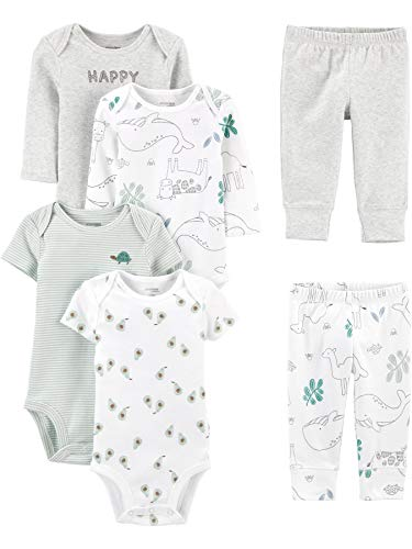 0194135243750 - SIMPLE JOYS BY CARTERS BABY 6-PIECE NEUTRAL BODYSUITS (SHORT AND LONG SLEEVE) AND PANTS SET, AVOCADO/HAPPY/ANIMALS, NEWBORN