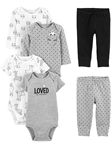 0194135244153 - SIMPLE JOYS BY CARTERS BABY 6-PIECE NEUTRAL BODYSUITS (SHORT AND LONG SLEEVE) AND PANTS SET, PANDAS/LLAMAS/LOVED, NEWBORN
