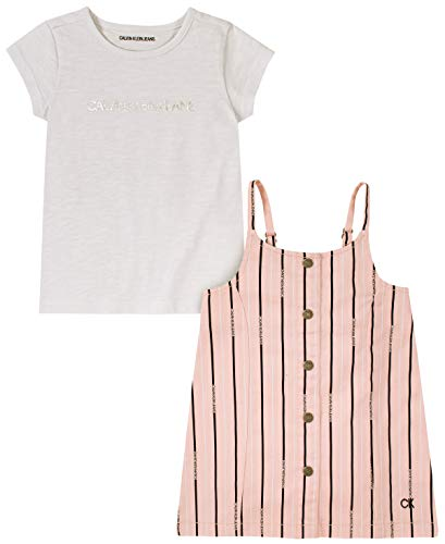 0194753636163 - CALVIN KLEIN BABY GIRLS 2 PIECES JUMPER SET, WHITE/BLACK STRIPES, 18M