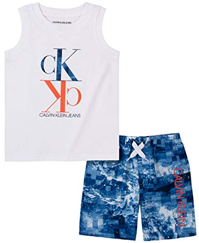 0194753647633 - CALVIN KLEIN BABY BOYS 2 PIECES SWIM SHORTS SET, PARASAIL WHITE/BLUE PRINT, 18M