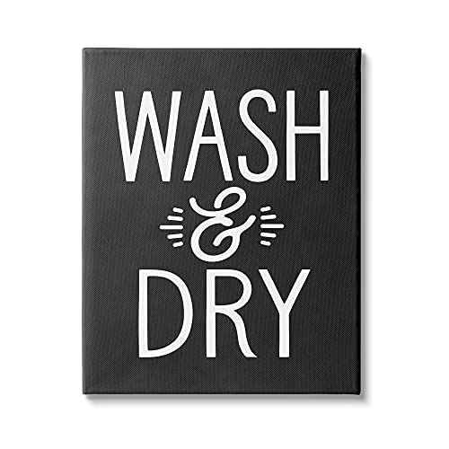 0196216262780 - STUPELL INDUSTRIES WASH AND DRY VINTAGE CLEANING PHRASE KITCHEN LAUNDRY, DESIGN BY LETTERED AND LINED CANVAS WALL ART, 16 X 20, BLACK