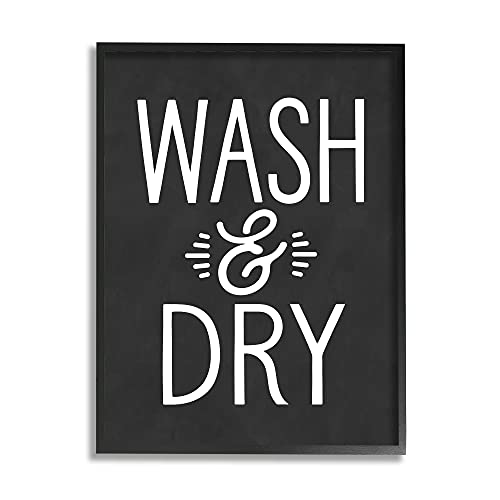 0196216262827 - STUPELL INDUSTRIES WASH AND DRY VINTAGE CLEANING PHRASE KITCHEN LAUNDRY, DESIGN BY LETTERED AND LINED BLACK FRAMED WALL ART, 11 X 14