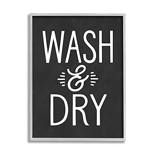 0196216262865 - STUPELL INDUSTRIES WASH AND DRY VINTAGE CLEANING PHRASE KITCHEN LAUNDRY, DESIGN BY LETTERED AND LINED GRAY FRAMED WALL ART, 16 X 20, BLACK