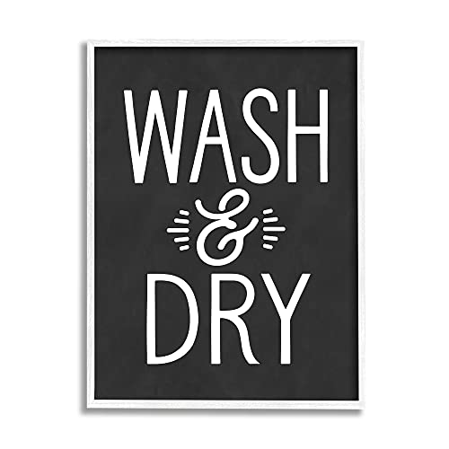 0196216262926 - STUPELL INDUSTRIES WASH AND DRY VINTAGE CLEANING PHRASE KITCHEN LAUNDRY, DESIGN BY LETTERED AND LINED WHITE FRAMED WALL ART, 24 X 30, BLACK