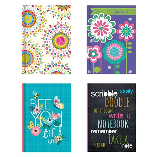0019962871184 - HARDBACK NOTEBOOK SET (4 NOTEPADS TOTAL) 5 X 7, INCLUDES BEAUTIFULLY ILLUSTRATED COVER W/ FOIL FINISHES, LINED PAGES, 4 VIBRANT DESIGNS (SET 1) STATIONERY