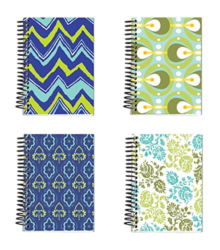 0019962873584 - SPIRAL BOUND THICK NOTEBOOK SET (4 NOTEPADS TOTAL) 5.5 X 4 - 160 LINED PAGES PER BOOK - STATIONERY 4 AWESOME DESIGNS FEAUTURING FROSTED COVERS
