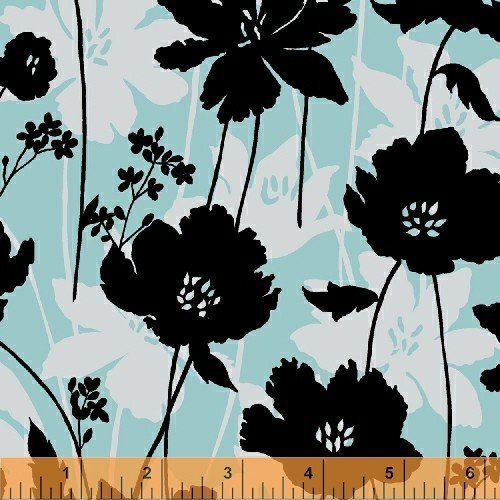 0002232520813 - MORNING MIST BLACK FLOWERS ON PASTEL BLUE & PINK FABRIC PANELS--TWO FABRIC PANELS (GREAT FOR QUILTING, SEWING, CRAFT PROJECTS, WALL HANGINGS, THROW PILLOWS AND MORE) 15 X 17