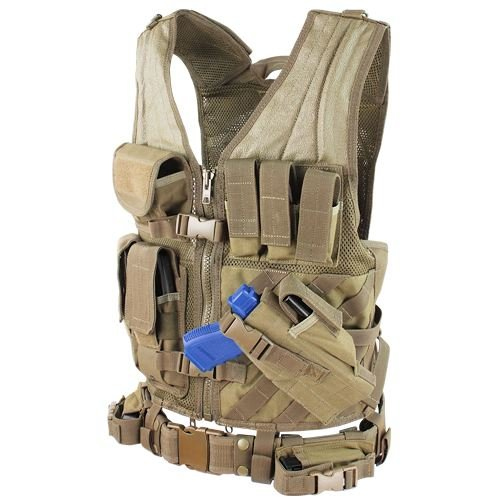 0022886304034 - CONDOR CROSS DRAW VEST/TACTICAL BELT (TAN, MEDIUM/LARGE)