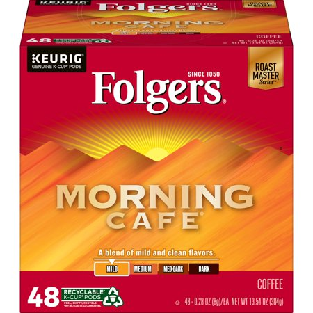 0025500108520 - FOLGERS MORNING CAFE K-CUP COFFEE PODS, LIGHT ROAST, 48 COUNT FOR KEURIG AND K-CUP COMPATIBLE BREWERS