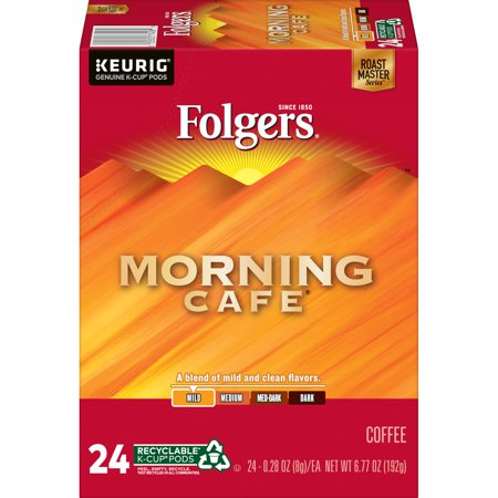 0025500774589 - FOLGERS MORNING CAFE K-CUP COFFEE PODS, LIGHT ROAST, 24 COUNT FOR KEURIG AND K-CUP COMPATIBLE BREWERS