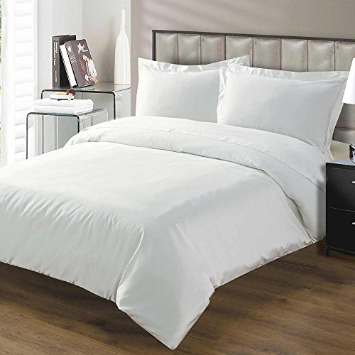 0026702370562 - 1200 THREAD COUNT 3 PIECE DUVET COVER SET SOLID WITH 100% EGYPTIAN COTTON FABRIC TWIN SIZE & WHITE COLOR