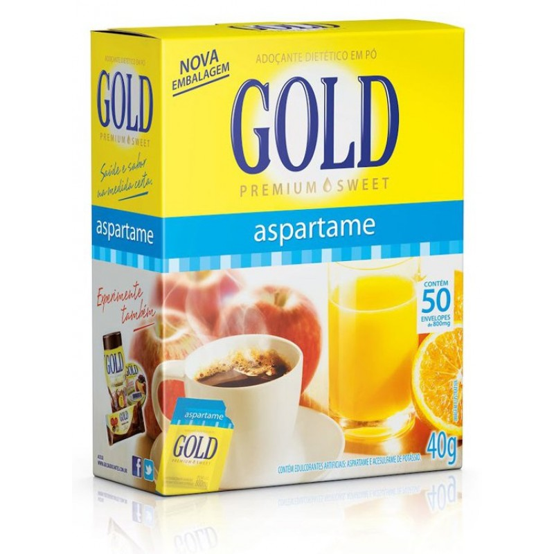 27896060037271 - ADOÇANTE DE ASPARTAME COM 50 ENVELOPES GOLD
