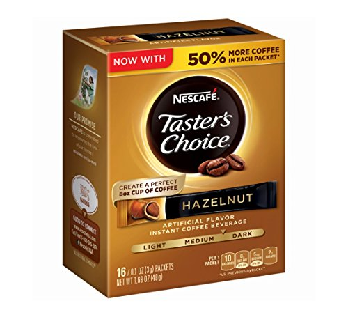 0028000703226 - NESCAFE TASTER'S CHOICE HAZELNUT INSTANT COFFEE BEVERAGE, 0.1 OZ, 16 COUNT