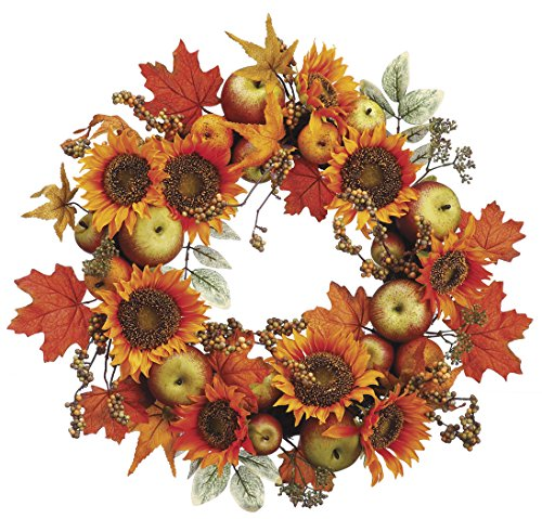 0033849711172 - 18 INCH FALL WREATH WITH SUNFLOWERS, APPLES AND MAPLE LEAVES, THANKSGIVING WREATH