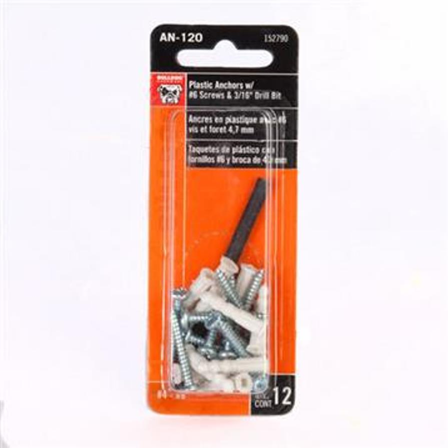 0035061527906 - BULLDOG PLASTIC ANCHORS WITH SCREWS AND DRILL BIT, 12PC 3506152790T